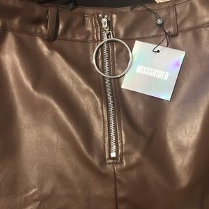 Missguided faux leather heart zip front mini skirt